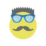Άτομο με ένα μοντέρνο κούρεμα με τα γυαλιά ηλίου και moustache Κίτρινο χαμόγελο απεικόνιση αποθεμάτων