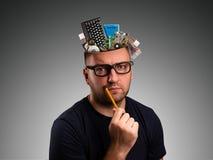 Άτομο με ένα μολύβι Στοκ Φωτογραφία
