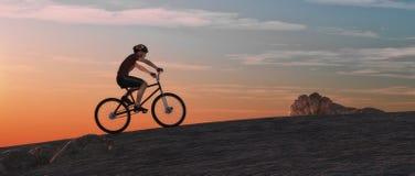 Άτομο με ένα ποδήλατο βουνών στην κορυφή διανυσματική απεικόνιση