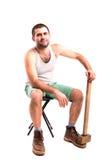 Άτομο με ένα σφυρί Στοκ Εικόνες