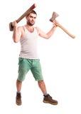 Άτομο με ένα τσεκούρι και ένα σφυρί Στοκ εικόνα με δικαίωμα ελεύθερης χρήσης