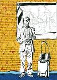 Άτομο με μια βαλίτσα απεικόνιση αποθεμάτων