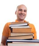 Άτομο με πολλά βιβλία Στοκ φωτογραφία με δικαίωμα ελεύθερης χρήσης