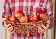 Άτομο με  σύνολο καλαθιών των μήλων Στοκ Εικόνα