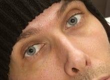 Άτομο με τα πανέμορφα μπλε μάτια Στοκ Φωτογραφίες