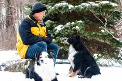 Άτομο με τα σκυλιά στο χιόνι Στοκ Εικόνες