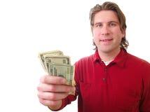 Άτομο με τα χρήματα μετρητών Στοκ Φωτογραφία