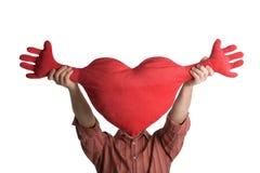 Άτομο με την καρδιά πέρα από το πρόσωπο Στοκ Εικόνες