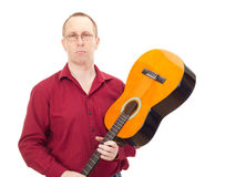 Άτομο με την κιθάρα Στοκ Εικόνες