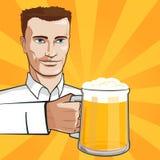 Άτομο με την μπύρα διανυσματική απεικόνιση