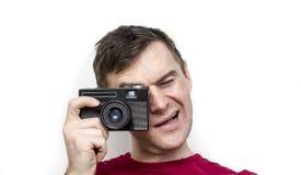 Άτομο με την παλαιά κάμερα στοκ εικόνα με δικαίωμα ελεύθερης χρήσης