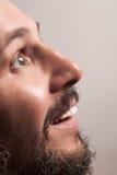 Άτομο με τη γενειάδα και τα άσπρα δόντια Στοκ Εικόνα