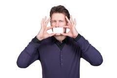 Άτομο με τη επαγγελματική κάρτα Στοκ εικόνες με δικαίωμα ελεύθερης χρήσης