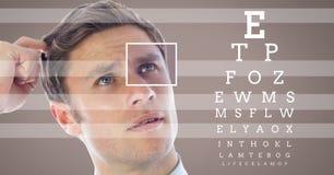 άτομο με τη λεπτομέρεια κιβωτίων εστίασης ματιών και τις γραμμές και τη διεπαφή δοκιμής ματιών Στοκ Φωτογραφίες