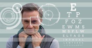 άτομο με τη λεπτομέρεια κιβωτίων εστίασης ματιών και τις γραμμές και τη διεπαφή δοκιμής ματιών Στοκ εικόνες με δικαίωμα ελεύθερης χρήσης