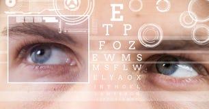 άτομο με τη λεπτομέρεια κιβωτίων εστίασης ματιών και τις γραμμές και τη διεπαφή δοκιμής ματιών Στοκ Εικόνα