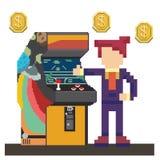 Άτομο με τη μηχανή παιχνιδιών arcade ελεύθερη απεικόνιση δικαιώματος