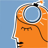 Άτομο με τη ορολογιακή βόμβα στο κεφάλι Στοκ Εικόνες
