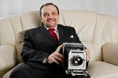 Άτομο με τη φωτογραφική μηχανή Στοκ φωτογραφίες με δικαίωμα ελεύθερης χρήσης