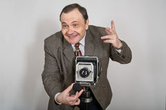 Άτομο με τη φωτογραφική μηχανή Στοκ Φωτογραφίες