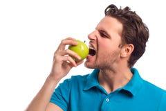 Άτομο με τη Apple που απομονώνεται στο άσπρο υπόβαθρο Στοκ Φωτογραφία