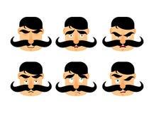 Άτομο με τις συγκινήσεις mustache Εκλεκτής ποιότητας έκφραση βάρβων 0 και απεικόνιση αποθεμάτων