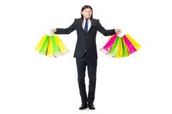 Άτομο με τις τσάντες αγορών που απομονώνεται Στοκ Φωτογραφίες