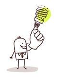Άτομο με το βολβό πράσινου φωτός στο δάχτυλο διανυσματική απεικόνιση