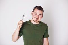 Άτομο με το γαλλικό κλειδί Στοκ Φωτογραφίες