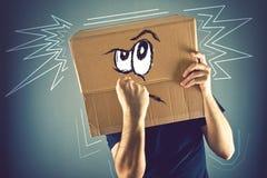 Άτομο με το κουτί από χαρτόνι στο κεφάλι και doodle το σχέδιο υ φ του στοκ εικόνα με δικαίωμα ελεύθερης χρήσης