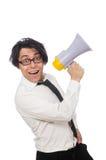 Άτομο με το μεγάφωνο που απομονώνεται στο λευκό Στοκ Εικόνες