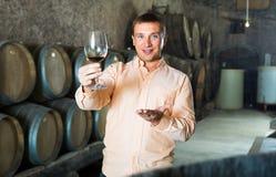 Άτομο με το ποτήρι του κρασιού στο κελάρι οινοποιιών στοκ εικόνες