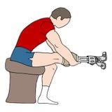 Άτομο με το προσθετικό πόδι διανυσματική απεικόνιση