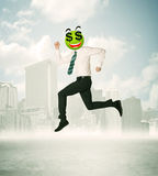 Άτομο με το πρόσωπο smiley σημαδιών δολαρίων Στοκ Φωτογραφίες