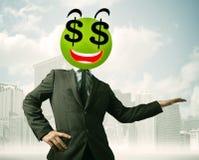 Άτομο με το πρόσωπο smiley σημαδιών δολαρίων Στοκ φωτογραφία με δικαίωμα ελεύθερης χρήσης