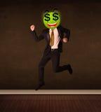 Άτομο με το πρόσωπο smiley σημαδιών δολαρίων Στοκ Εικόνα
