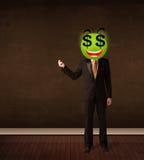Άτομο με το πρόσωπο smiley σημαδιών δολαρίων Στοκ Εικόνες