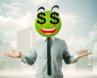 Άτομο με το πρόσωπο smiley σημαδιών δολαρίων Στοκ Φωτογραφία