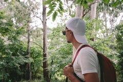 Άτομο με το σακίδιο πλάτης που περπατά στο δάσος στοκ φωτογραφία
