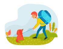 Άτομο με το σακίδιο πλάτης ταξιδιού και σκυλί που περπατά υπαίθρια Επίπεδη απεικόνιση έννοιας χαρακτήρα των ανθρώπων με τα κατοικ διανυσματική απεικόνιση