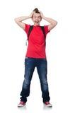 Άτομο με το σακίδιο πλάτης που απομονώνεται Στοκ Φωτογραφία