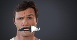 Άτομο με το σχισμένο έγγραφο για το στόμα και το στόμα κινούμενων σχεδίων Στοκ φωτογραφία με δικαίωμα ελεύθερης χρήσης
