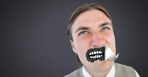 Άτομο με το σχισμένο έγγραφο για το στόμα και το στόμα κινούμενων σχεδίων Στοκ Φωτογραφία