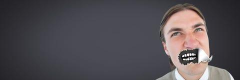 Άτομο με το σχισμένο έγγραφο για το στόμα και το στόμα κινούμενων σχεδίων Στοκ Εικόνα