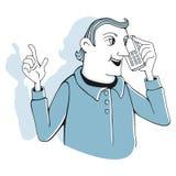 Άτομο με το τηλέφωνο κυττάρων Στοκ Φωτογραφίες