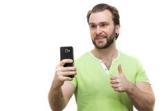Άτομο με το τηλέφωνο Στοκ φωτογραφία με δικαίωμα ελεύθερης χρήσης