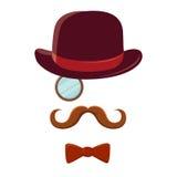Άτομο με το τοπ καπέλο Mustache και το δεσμό τόξων Στοκ εικόνα με δικαίωμα ελεύθερης χρήσης