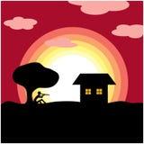 Άτομο με το φλάουτο στο ηλιοβασίλεμα ελεύθερη απεικόνιση δικαιώματος