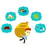 Άτομο με το χρέος του απεικόνιση αποθεμάτων