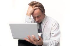 Άτομο με το lap-top Στοκ φωτογραφίες με δικαίωμα ελεύθερης χρήσης